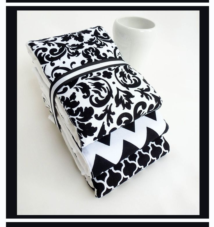 Baby Burp Cloth Set of 3 for Baby Girl or Baby Boy in Neutral Chic Black and White Chevron - Genuine Gerber Premium 6-Ply Cloth Diaper Set. $13.50, via Etsy.