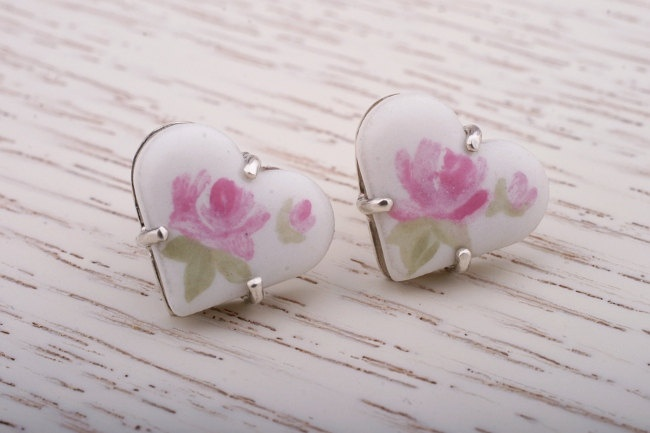 Heart Shaped China Painting Silver Stud Earrings.