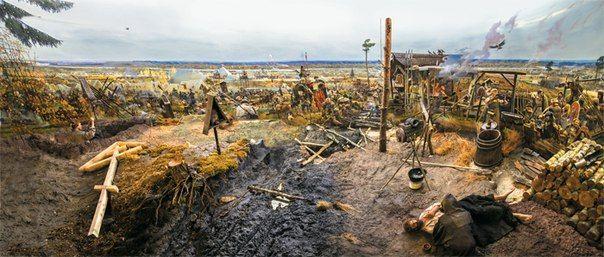 """панорама """"Великое стояние на реке Угре"""" Калужская Старообрядческая церковь."""