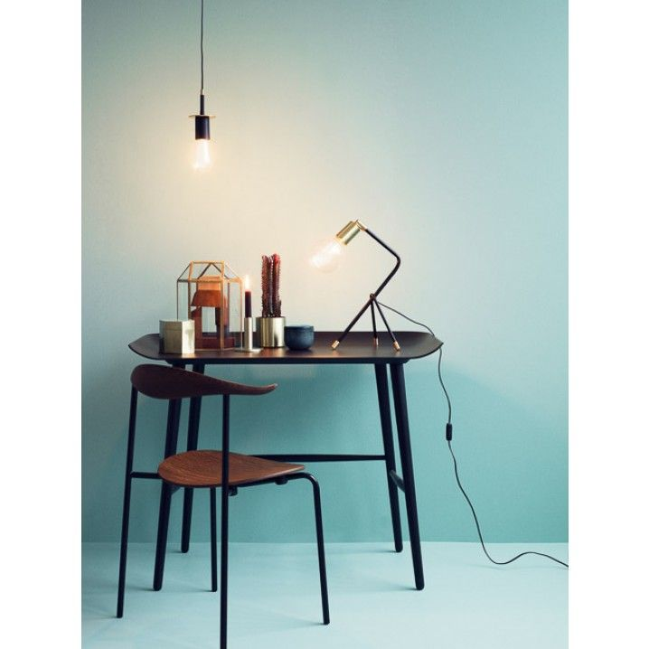 Pendant Lamp with by H. Skjalm P of Denmark  Colour: Brass/Black Fabric wire: 2.5 m