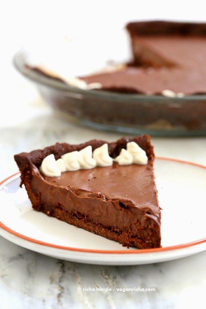 Dark Chocolate Silk Pie with Chocolate Almond Crust . #Vegan #Glutenfree #Soyfree Recipe - Vegan Richa