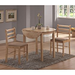 @Overstock - Sit down for a quick meal or linger for a long brunch at this classic three-piece dinette set that works perfectly in a breakfast nook or small dining room. The drop-leaf table offers flexibility in how you use the set, and padded chairs keep you comfy.http://www.overstock.com/Home-Garden/Natural-3-piece-Dinette-Set/6325284/product.html?CID=214117 $233.99
