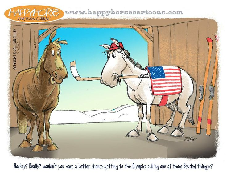 """""""The winter Olympics are here, and though there are no equine events, I was pushing for Horse Hockey, but no luck. Here's a related cartoon..."""""""