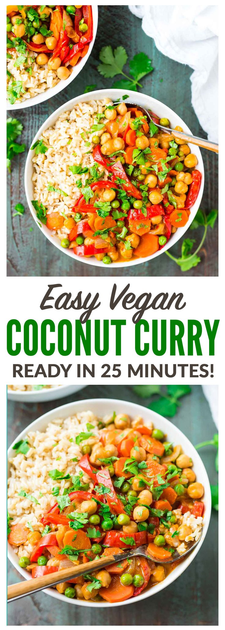 Easy Vegan Chickpea Coconut Curry—the BEST Thai curry I've ever had! Not too spicy, healthy, and full of flavor. Ready in 25 minutes! {gluten free} Recipe at wellplated.com | @wellplated