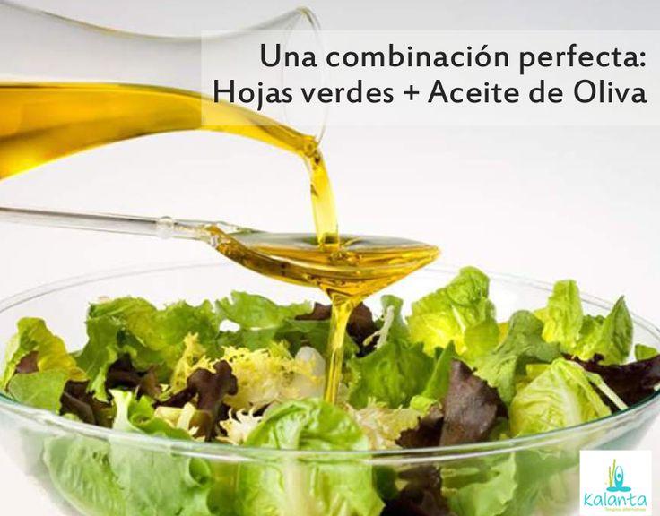 Hojas verdes + Aceite de Oliva Esta combinación potencia los efectos de la luteína, lo que beneficia la visión.