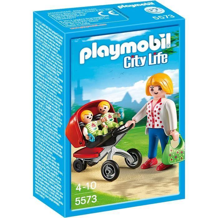 PLAYMOBIL 5573 Maman avec Jumeaux et Landau Prix pas cher - Les Bons Plans de PetitBuzz ❤