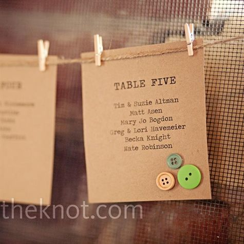 escort cards against a screen, w/vintage buttons on brown paper (: