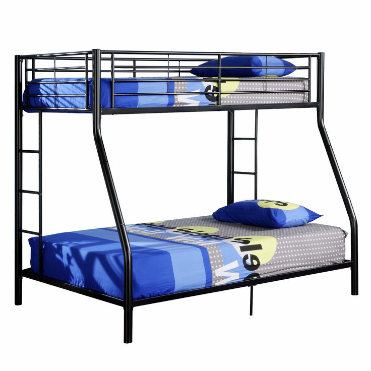Best W Trends Sunset Twin Full Size Metal Bunk Bed Black 400 x 300