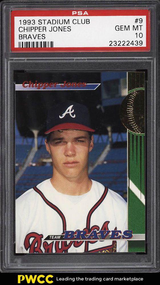1993 Stadium Club Braves Chipper Jones Rookie Rc 9 Psa 10 Gem Mint