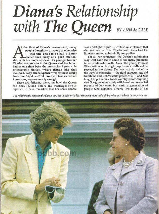 queen and princess diana relationship