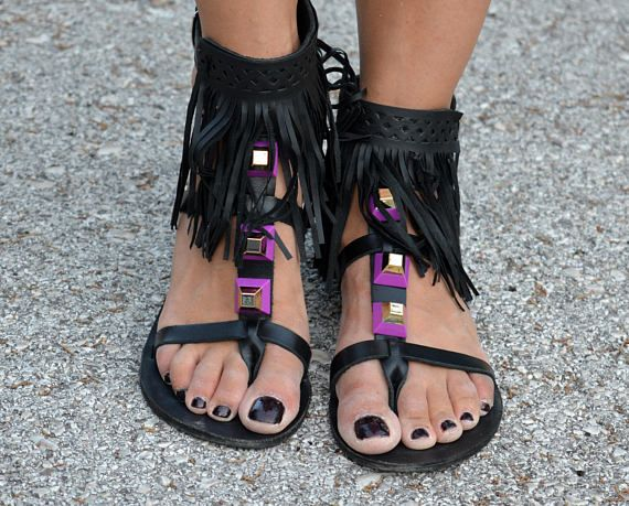 Check out this item in my Etsy shop https://www.etsy.com/listing/520866147/black-fringed-sandals-pyramid-studded