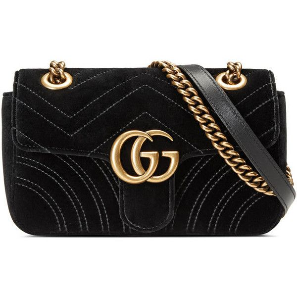 Gucci GG Marmont 2.0 Mini Quilted Velvet Crossbody Bag ($1,290) ❤ liked on Polyvore featuring bags, handbags, shoulder bags, gucci, black, gucci crossbody, crossbody purses, quilted chain strap shoulder bag, crossbody handbags and mini crossbody handbags