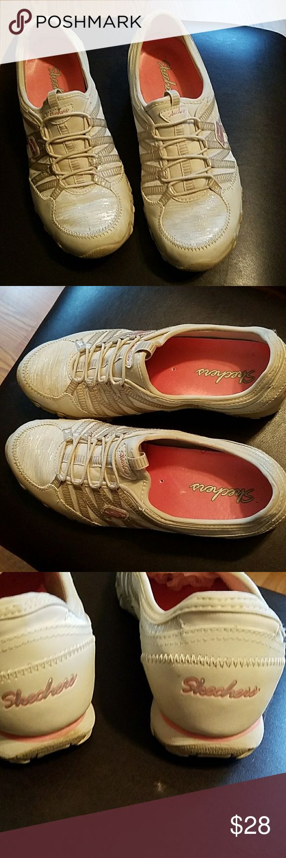 Ladies skechers,  as 8.5 These memory foam Skechers are in excellent condition, great coral accent color with a little silver shine to them Skechers Shoes