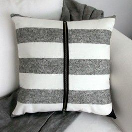 Stunning designer cushion / scatter cushion by boutique designer brand, Billy Heckenberg.  The Grey and White Striped cushion cover features a beautiful, on trend monochrome design. This luxury, scatter cushion has been designed and made locally in Australia. The cushion cover is digitally printed on a canvas linen blend fabric and is beautifully finished. Each designer cushion features designed finishes such as a signature corner tag and is finished with a high quality large, ...