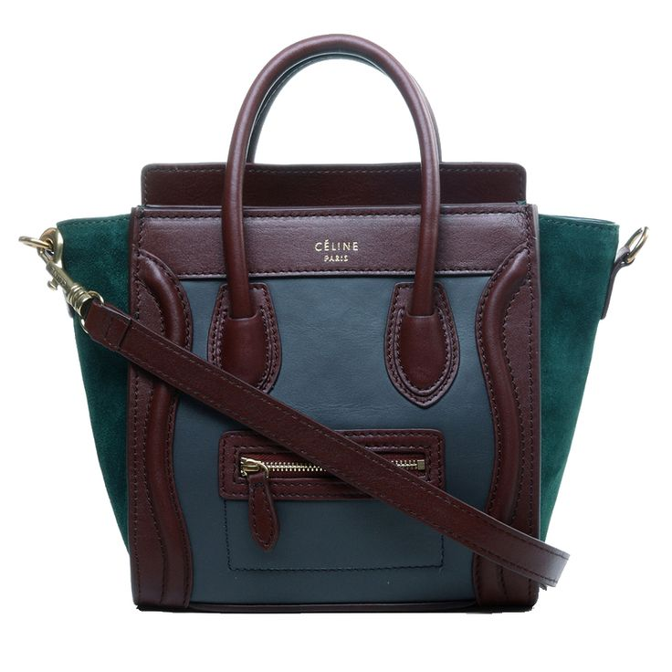 Celine Nano Luggage Boston Leather Bag Tricolor Oak Grey Green C ...