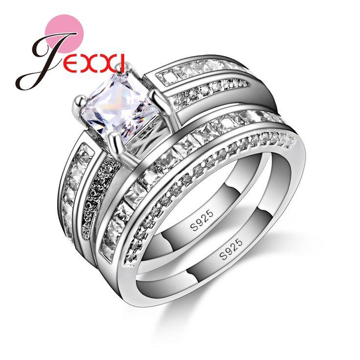 JEXXI 925 Sterling Silver Doppi Anelli di Barretta Rotondo Con Zircone Cubico Per Le Donne Anello Festa di Nozze di Compleanno Elegante Moda