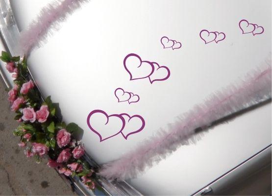 Hochzeitsdeko - Auto Aufkleber Hochzeit - Herzen filigran 6 Stück - ein…