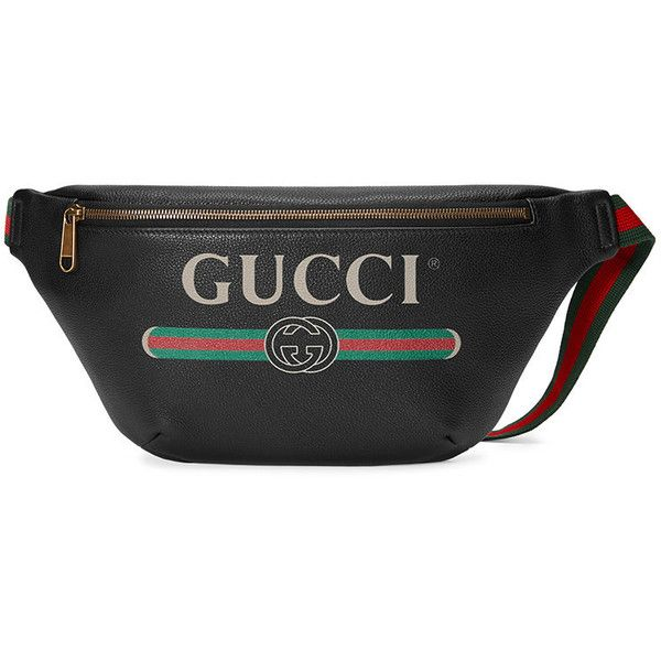 8a478cc797f9 Gucci Gucci Print leather belt bag ($1,230) ❤ liked on Polyvore featuring  men's fashion, men's bags, black, gucci mens bag, mens leather waist bags  and ...