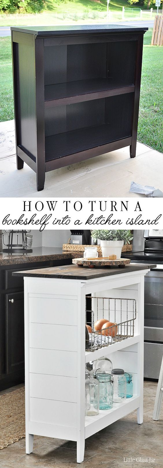 SUPER CLEVER! Turn an old bookcase into a kitchen island! Find the tutorial here: www.littleglassja...