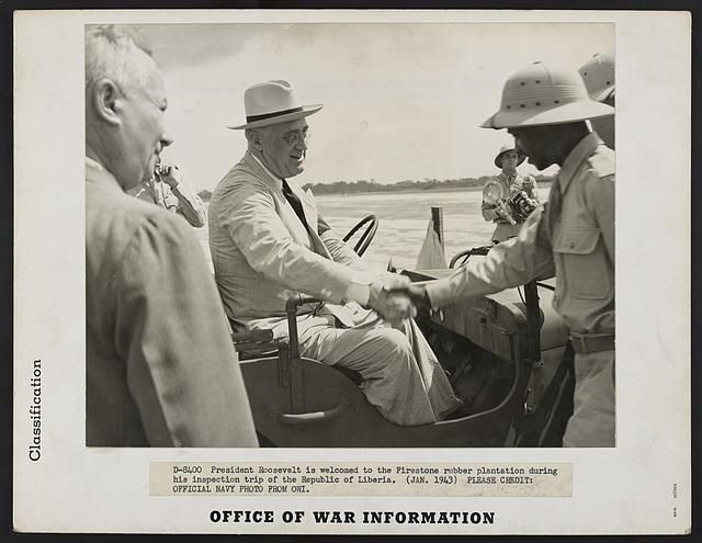 President Roosevelt's Liberian visit. President Roosevelt is welcomed to the Firestone rubber plantation during his inspection trip to the Republic of Liberia.
