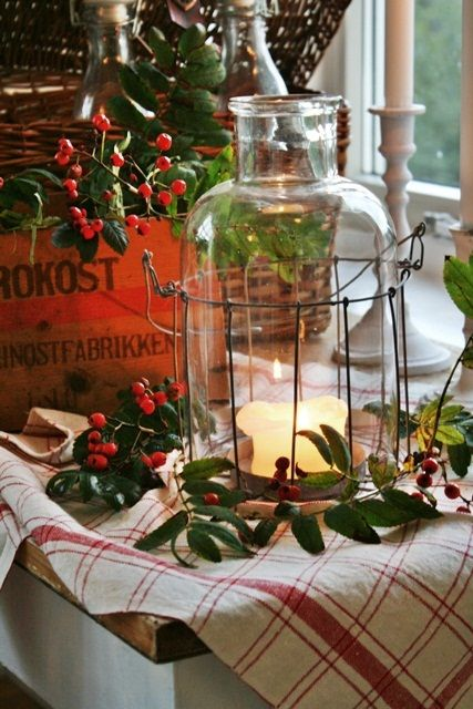 Love that bottle!! Great little Christmas vignette!!! Bebe'!!! This makes a cozy kitchen display for the holidays!!!! Love placing the lantern near the window so the glow of the candle in the lantern can be enjoyed from outside too!!!