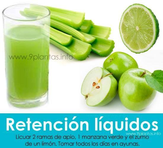 RETENCIÓN DE LIQUIDO, edemas, gota, ácido úrico, obesidad por retención de liquido; Jugo de apio con manzana y limón: Licuar 2 ramas de apio, 1 manzana verde y el zumo de un limón. Tomar todos los días en ayunas.