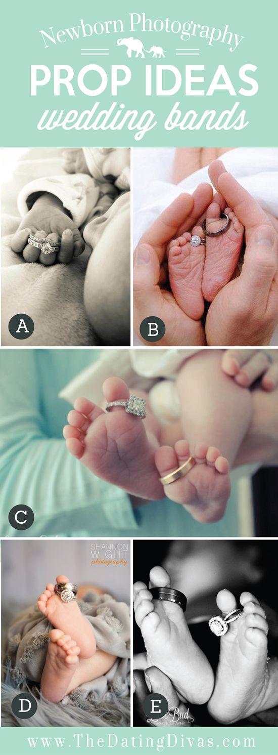 Adorable Newborn Photography Prop Ideas using Wedding Bands