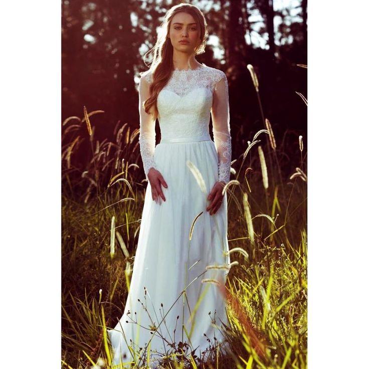 90.3 $ Vestidos Novia Elegante vestido de novia de manga larga de encaje top