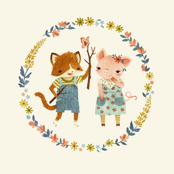The Kitten & The Piglet Art Print