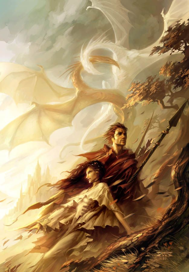 1238. Cvr of Diana L Paxson's THE GOLDEN HILLS OF WESTRIA by Raymond Swanland - w/dragons!