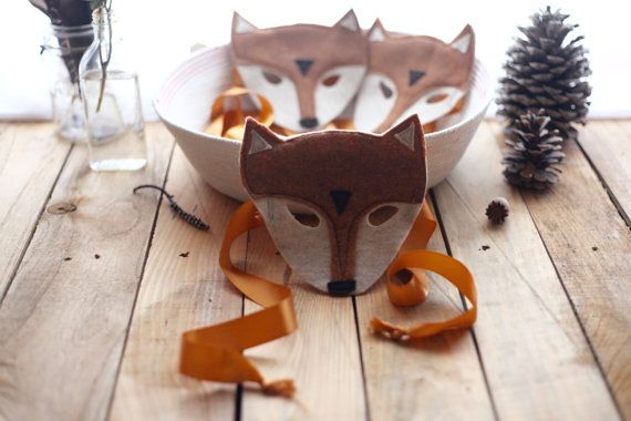 Felt Fox Mask With Satin Ties by FloraFaunaCollective on Etsy
