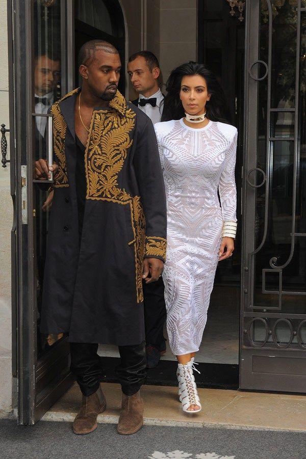 Kim and Kanye wears Balamain at Pris FW