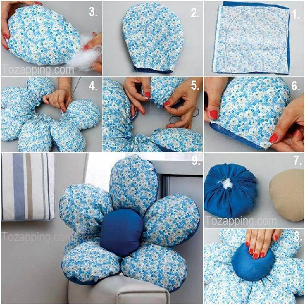 Cómo hacer un cojín de tela con forma de flor.Cojín de tela con forma de flor, los cojines son complementos tan prácticos,como decorativos.Es suave y cómodo