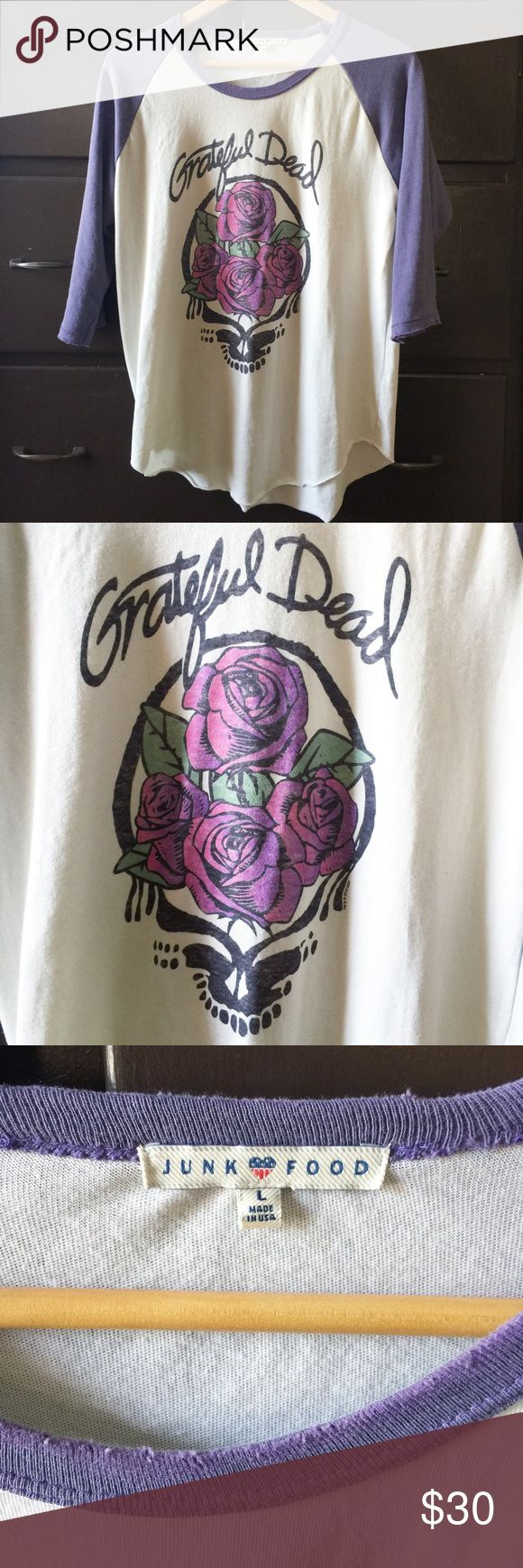 Junk Food Clothing Grateful Dead baseball t shirt Excellent condition; worn once. 3/4 purple sleeves and white shirt. Junk Food Tops Tees - Long Sleeve