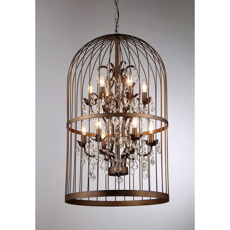 It is apparent where the design inspiration for this light originates, but unlike a bird, light proves more difficult to contain. This decorative Cage Chandelier features 12 lights reflecting off the crystals to produce a dance of light in your home.