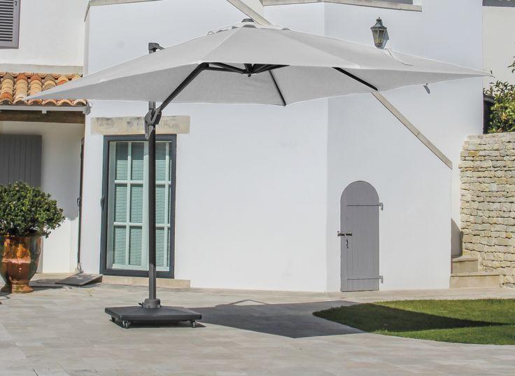 Parasol Déporté 3x3 NL Gris / Blanc - Parasol déporté carré, rond ou 3x4 - Meubles d'extérieur - Proloisirs - Proloisirs - Spécialiste du mobilier de jardin contemporain