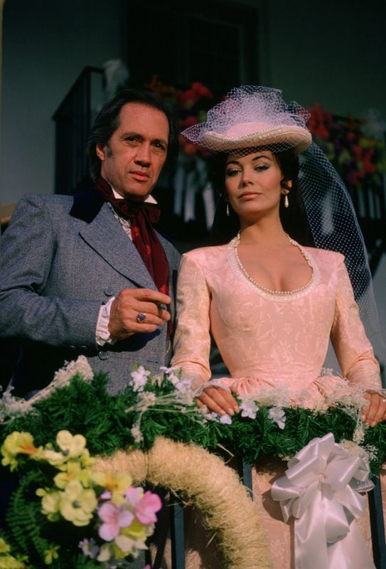 "David Carradine and Lesley Ann Down as Justin and Madeline Lamotte in ""North and South"""
