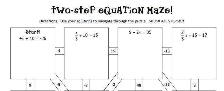 Two Step Equations Notes and Maze | Middle School Freebies ...