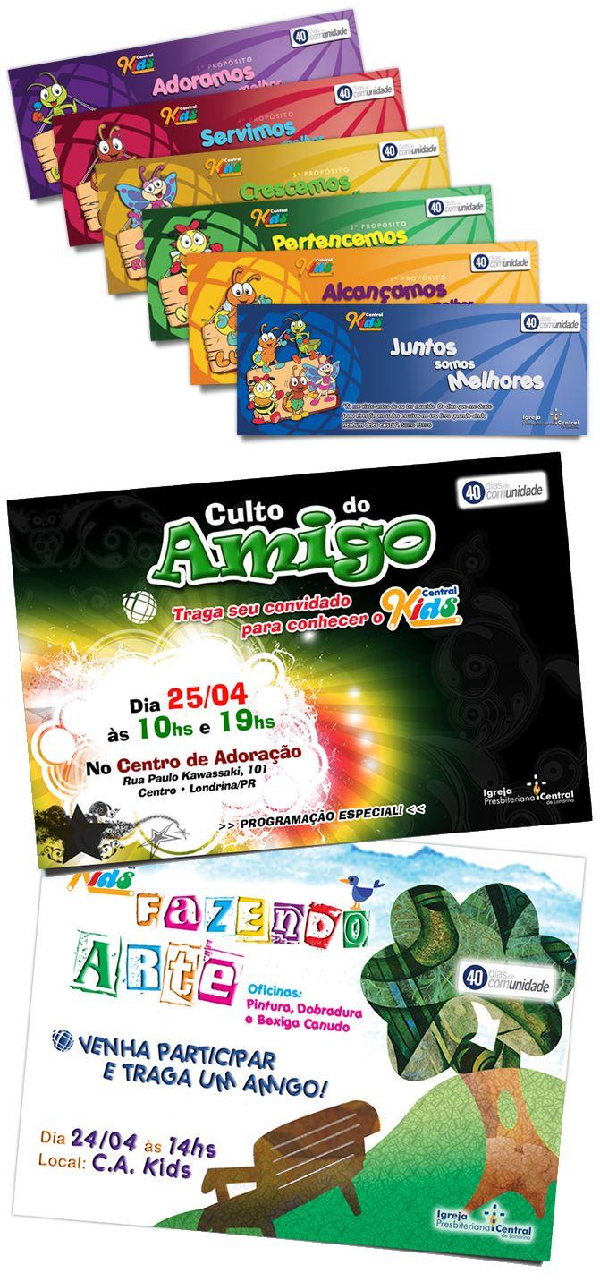 """MARCADORES + CARTAZES    Conceito e materiais da campanha """"40 Dias de Comunidade Kids""""    Igreja Presbiteriana Central de Londrina    2010 • Londrina/PR"""