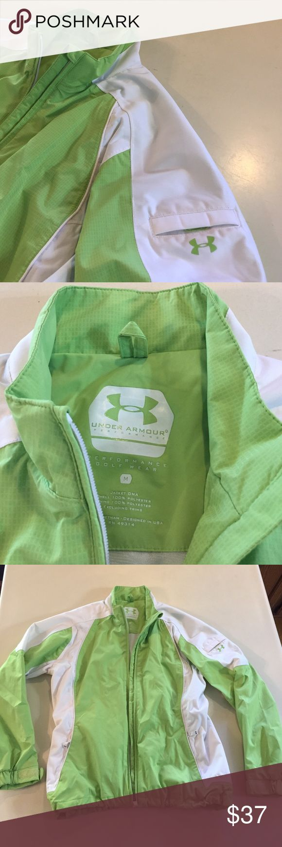 Under Amour Beautiful bright green white jacket In excellent condition. Under Amour performance jacket . Perfect for golf wear or anywhere!! 100% polyester wind resistant and waterproof size medium Under Armour Jackets & Coats