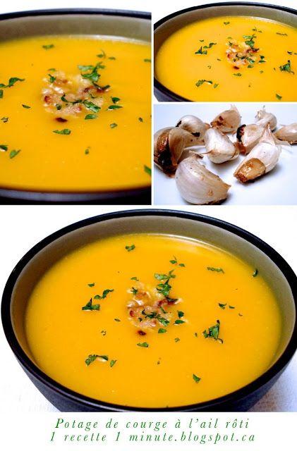 1 recette de soupe: Potage de Courge Butternut (ou Buttercup) à l'Ail Rôti