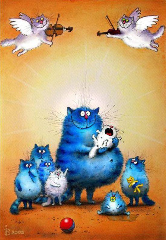 Синие коты художницы Ирины Зенюк (Рины З.) :: Коты и кошки - рисунок, графика, живопись