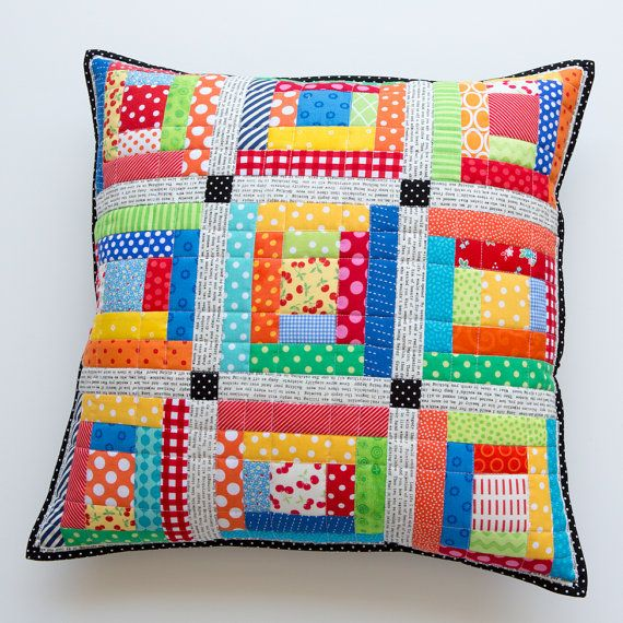 Scrappy Quilted Pillow Cover