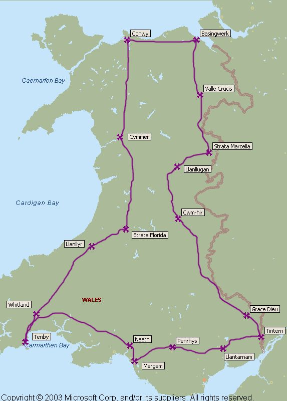 The Cistercian Way, linking the Cistercian Abbeys of Wales along ancient tracks, pilgrim roads and modern long-distance footpaths, about 650 miles (!)
