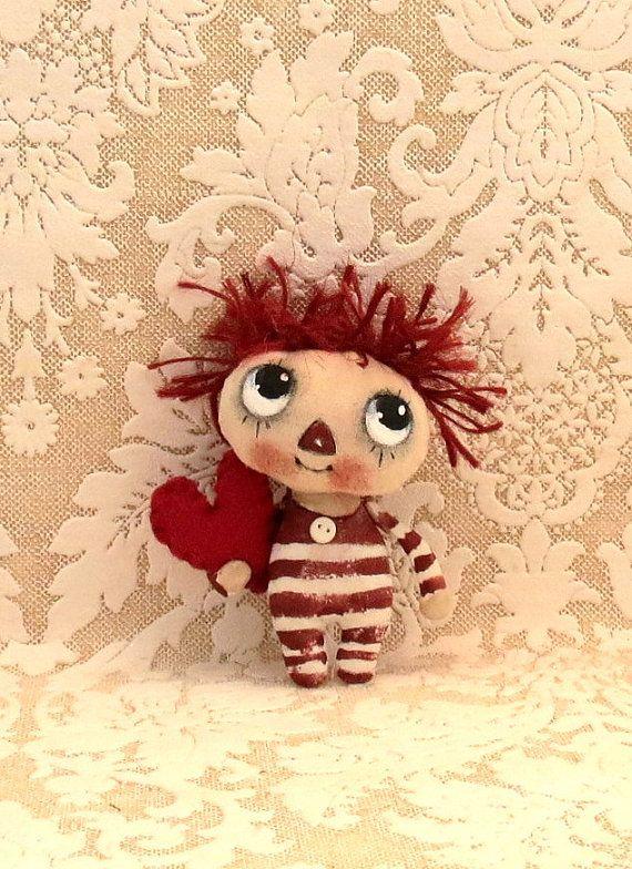 Teeny baby Raggedy Ann/Andy painted cloth doll by suziehayward, $34.00