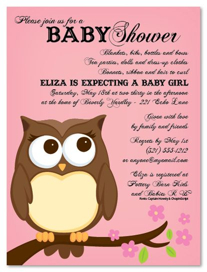 Owl Baby Shower Invitations Wording