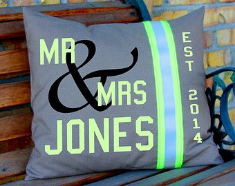 Wedding Pillow Firefighter Themed Personalized with Last Name