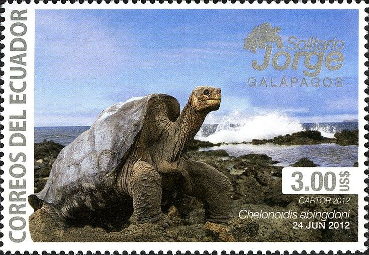 A 2012 Ecuadorian stamp of Solitario George (Lonesome George), the last Pinta Island tortoise in the world.