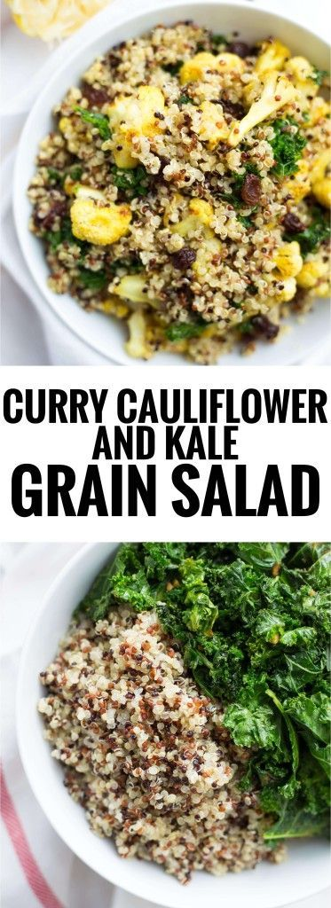 Curry Cauliflower & Kale Grain Salad: A comforting vegan and gluten free grain salad made with only 8 ingredients! Perfect for an on-the-go lunch! || http://fooduzzi.com recipe