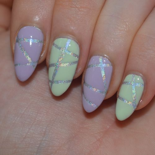 GOSH Holographic Stripy Nail Art